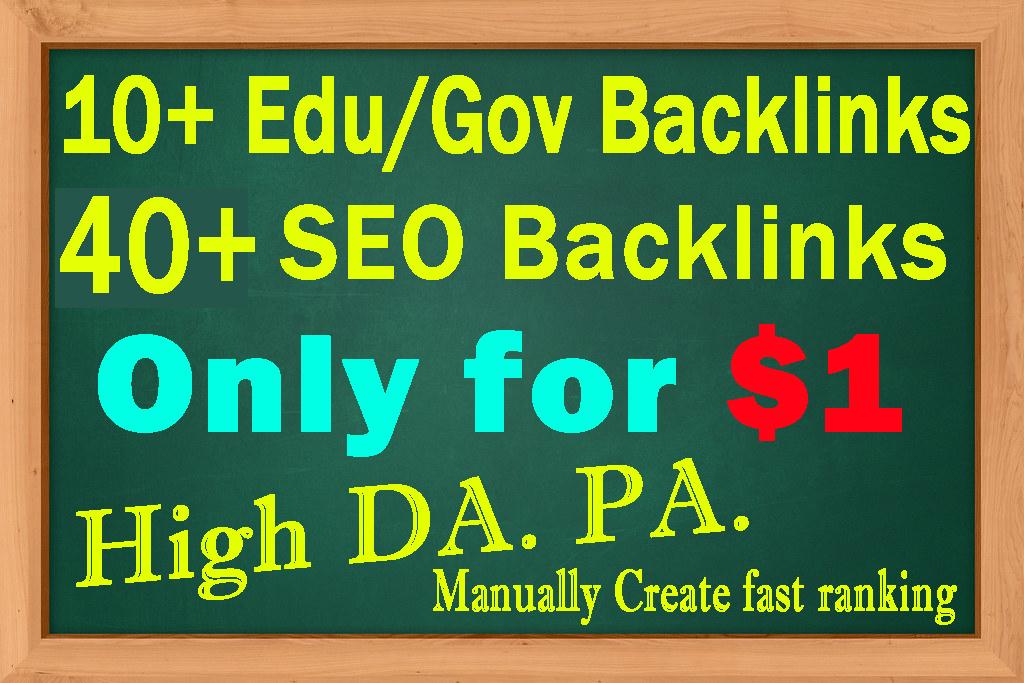 I will build DA50+ High Quality 10+ Edu/Gov Backlinks & 40+ SEO Backlinks Manually