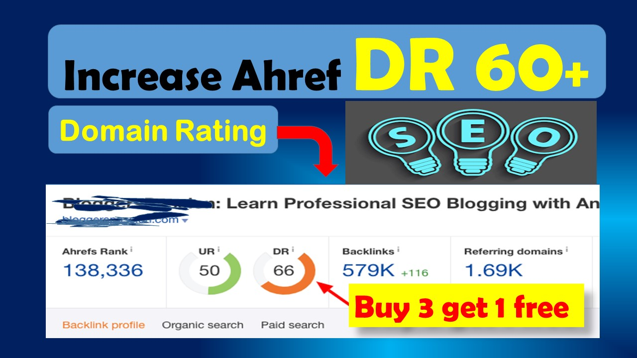 i will increase Ahref domain rating DR 55 plus