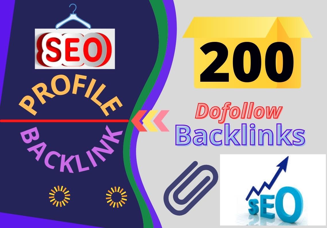 200 Do-Follow Profile Backlinks HQ DA 70+ Manually Create