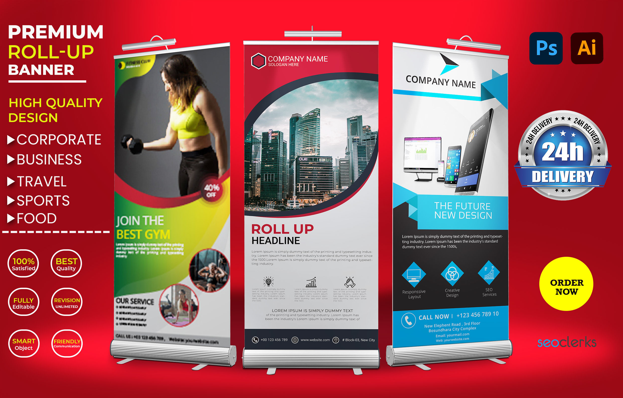 I will design premium roll up banner for business,  corporate and travel within 24 hours