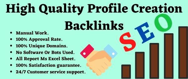 I will create 30+ high quality profile creation back links