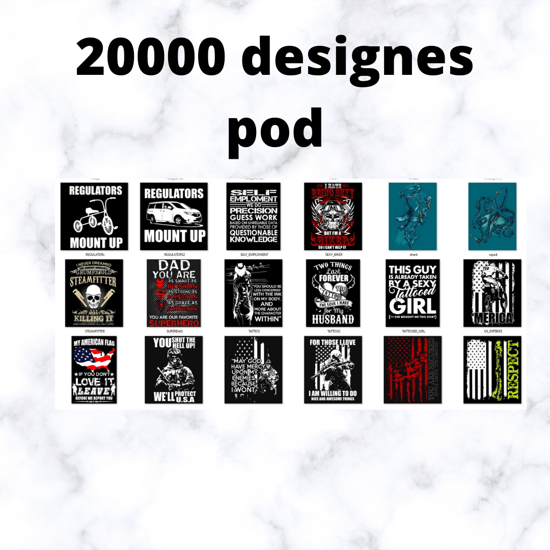 i will give you 20 000 designe t-shirt print on demande.