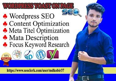 do expert WordPress yoast seo on page optimization to rank