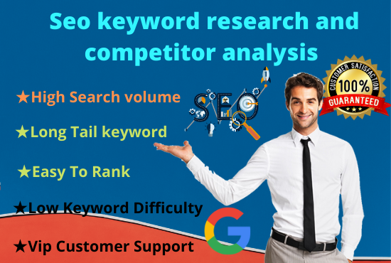 Do best seo keyword research and niche research competitor analysis just five hour