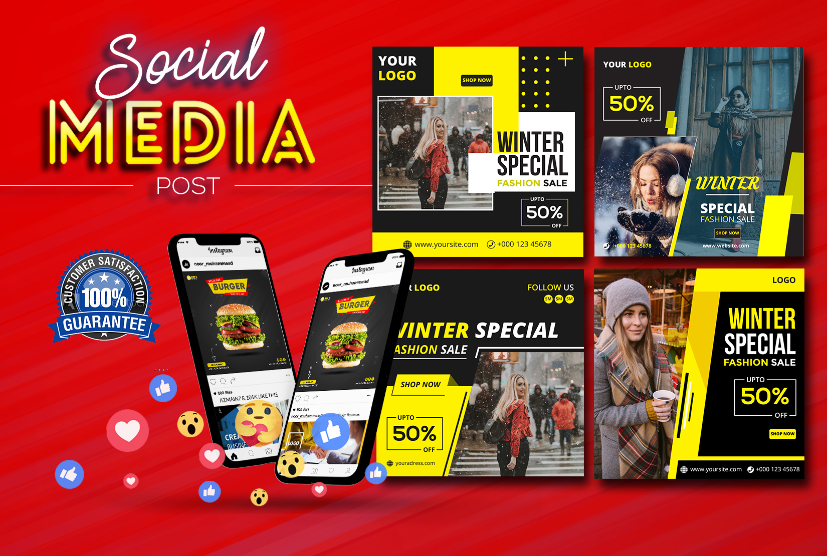 I will design social media posts,  banner,  cover for Facebook,  Instagram