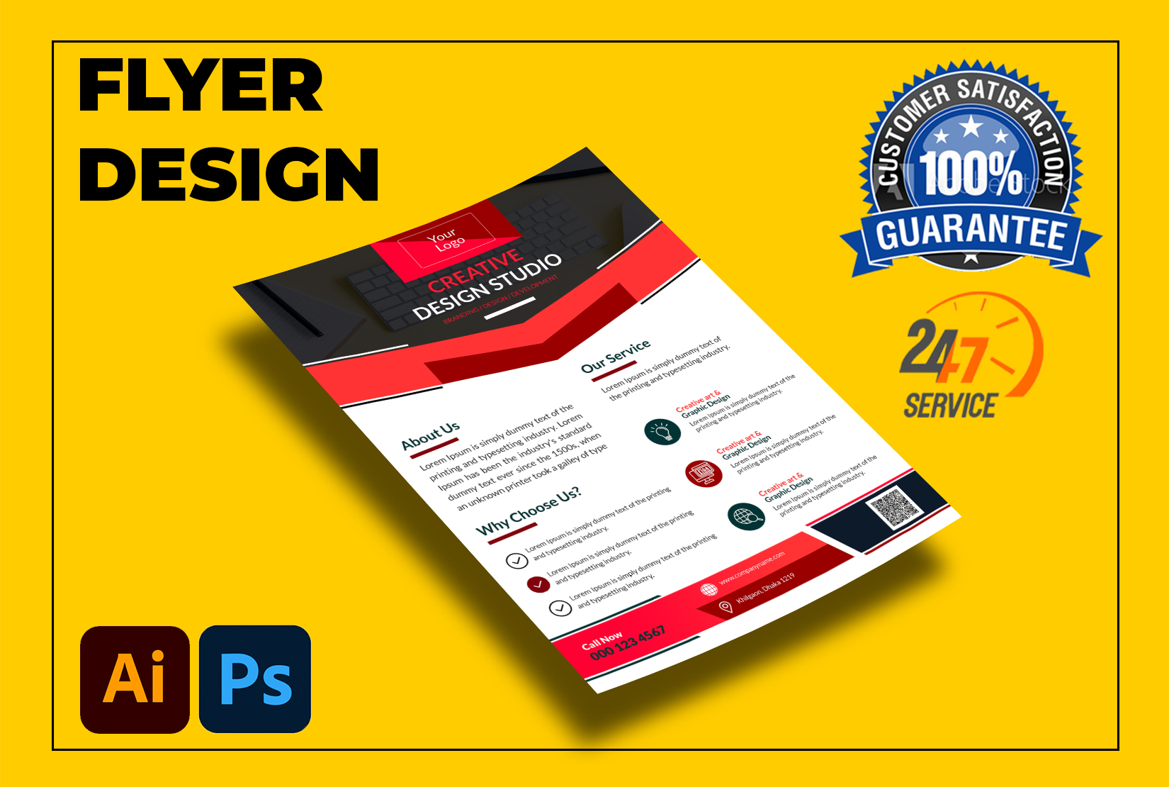 I will design corporate,  food,  real state flyer professionally