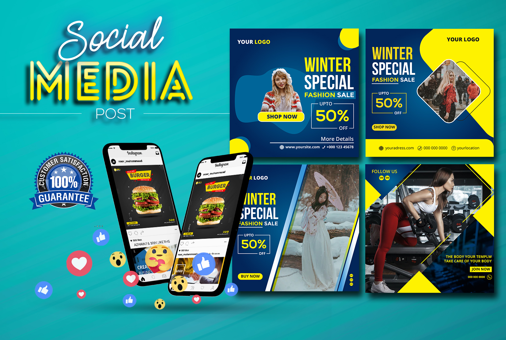I will design social media posts, banner, cover for Facebook, Instagram
