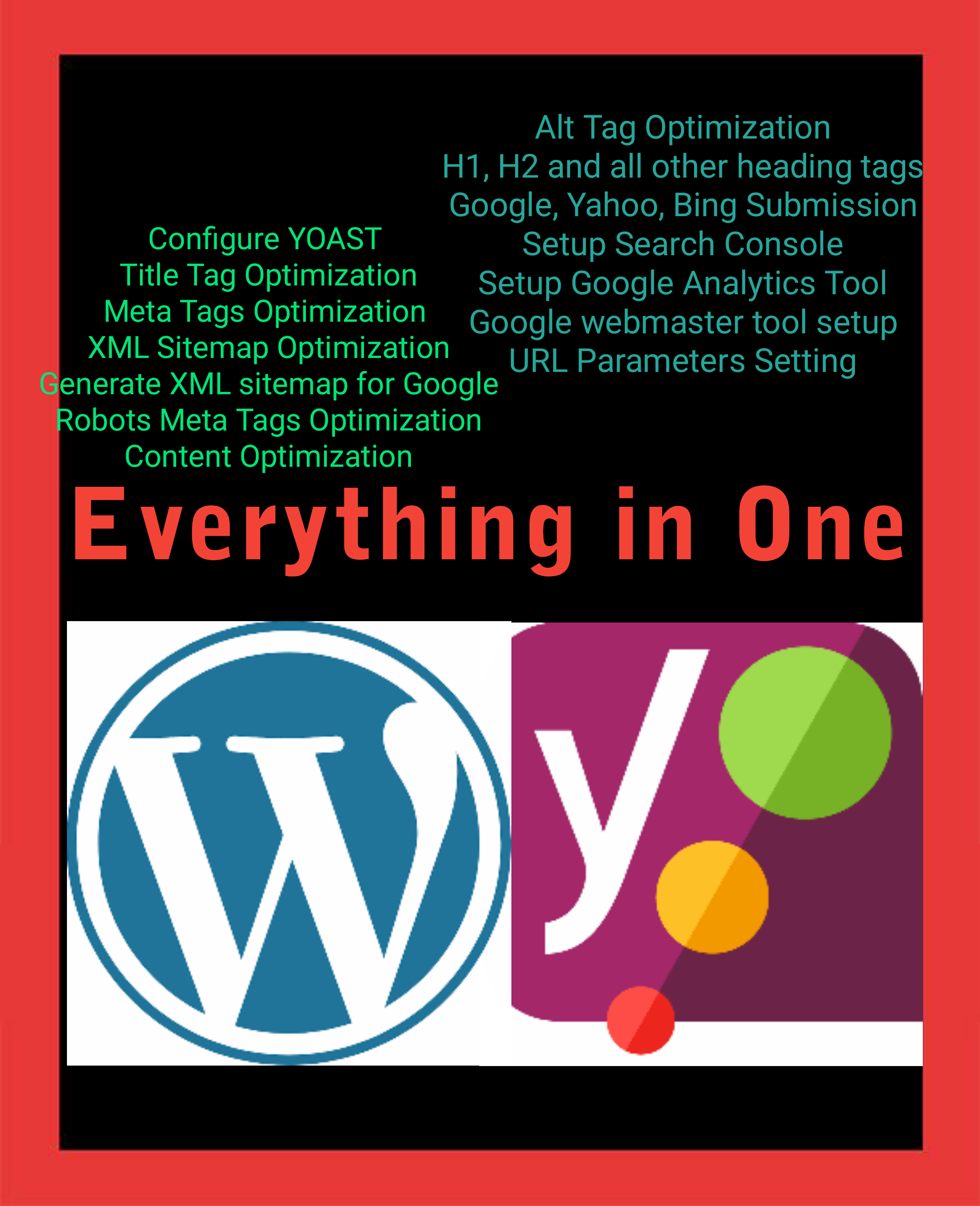 install and setup wordpress yoast SEO and do onpage optimization