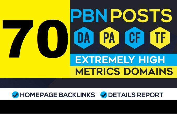 70 Homepage High Metrics DA PA TF CF Dofollow PBN Backlinks