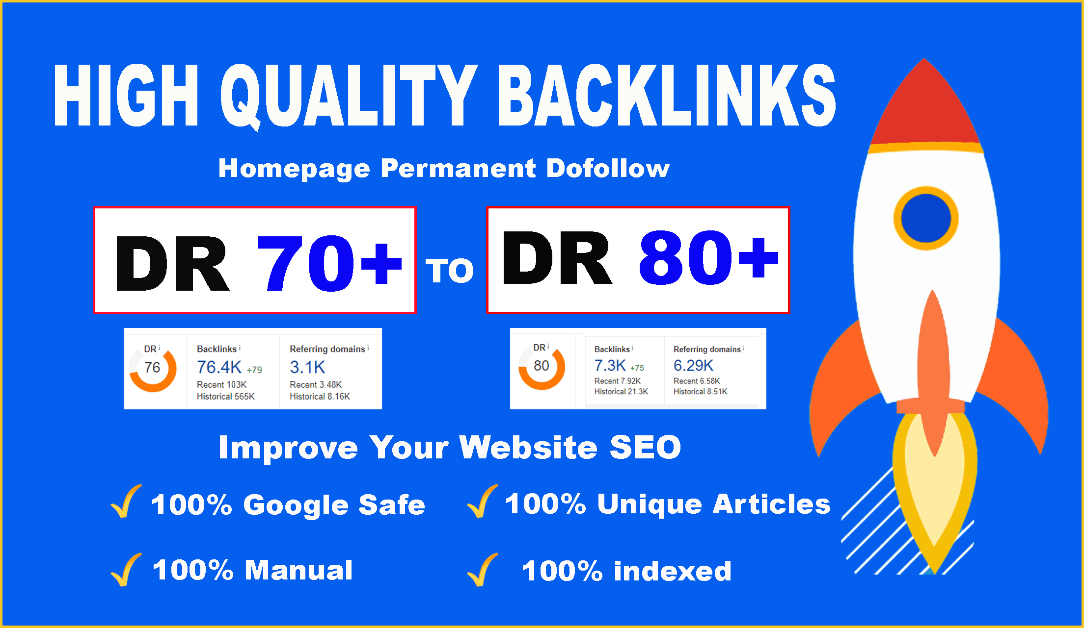 I will create high quality DR 70 to 80 manual seo dofollow authority backlinks