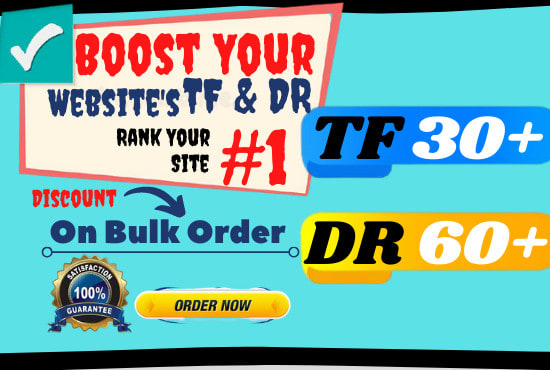 I will ahref domain rating DR 60 majestic trust flow tf 30