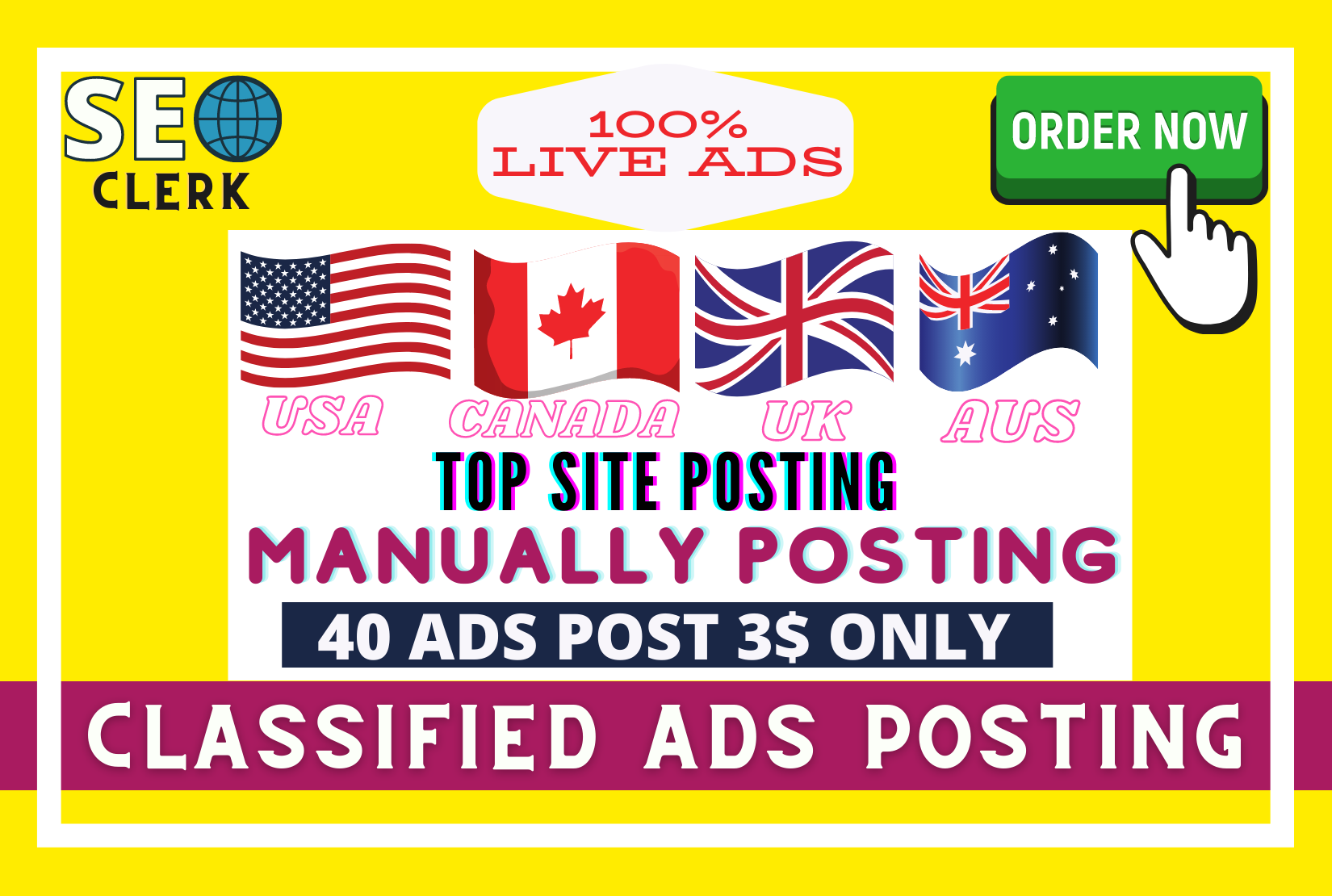 I will post your ads in top rank classified ads posting site