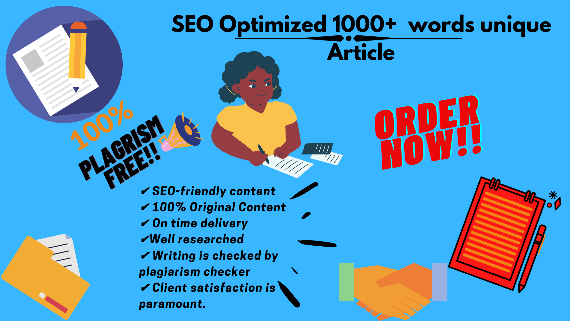 I will write 1000+ words SEO article blog post for you