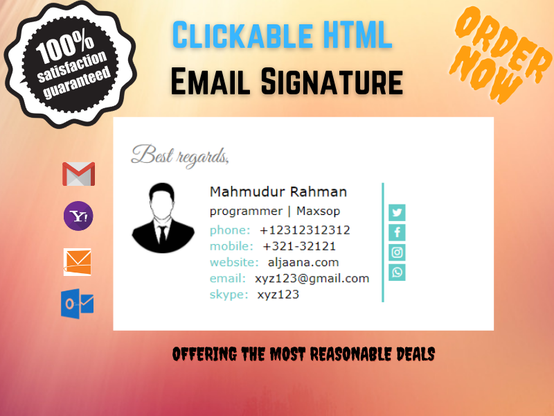 I will make a suitable HTML email signature for all kind of emails