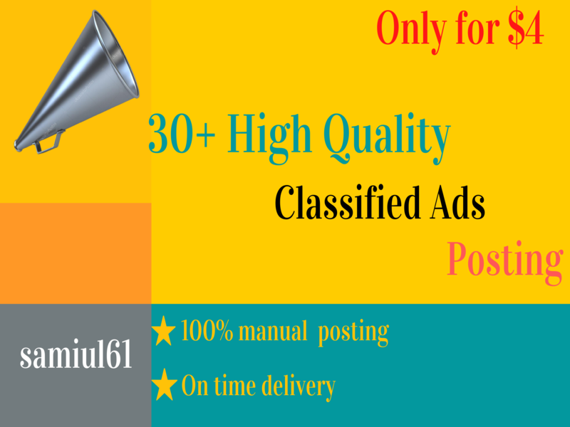 30 High-quality Classified Ads Posting to get more customers