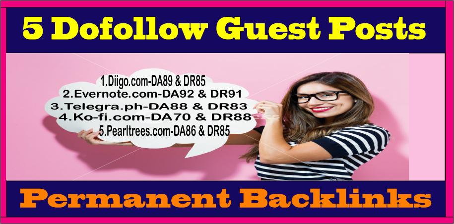 Write & Publish TOP 5 Guest Posts DA80+ DoFoIIow Links Google Index Guaranteed