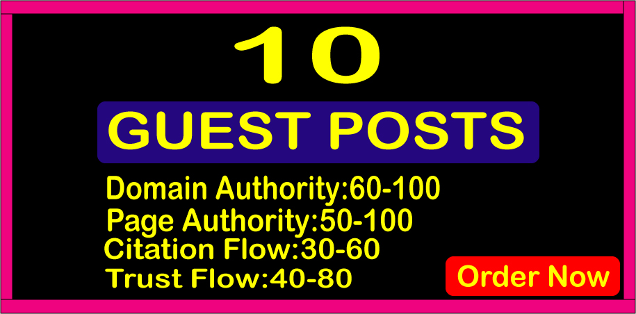 Write & Publish 10 Guest Posts High Authority DA90+ Permanent SEO Backlinks