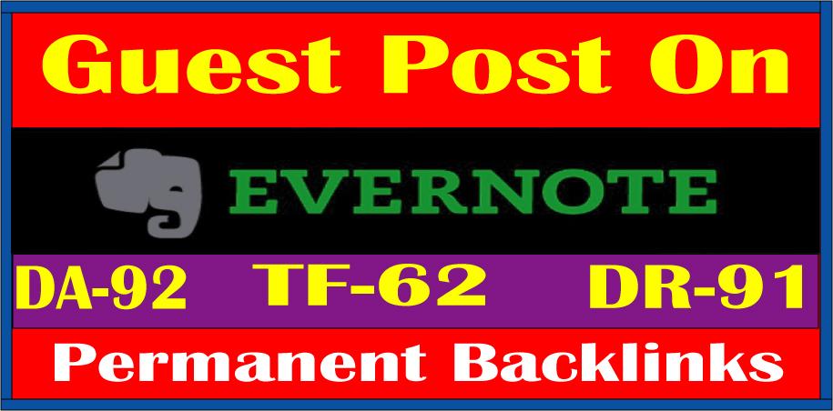 Write & Publish A Guest Post On DA92 Evernote Site Google Index Guaranteed