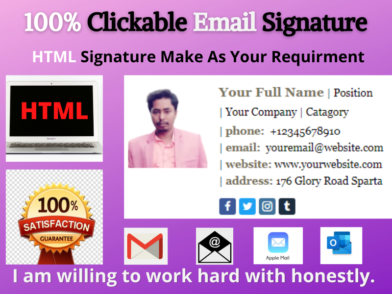 I will create clickable E-mail signature with satisfaction by your requirment.