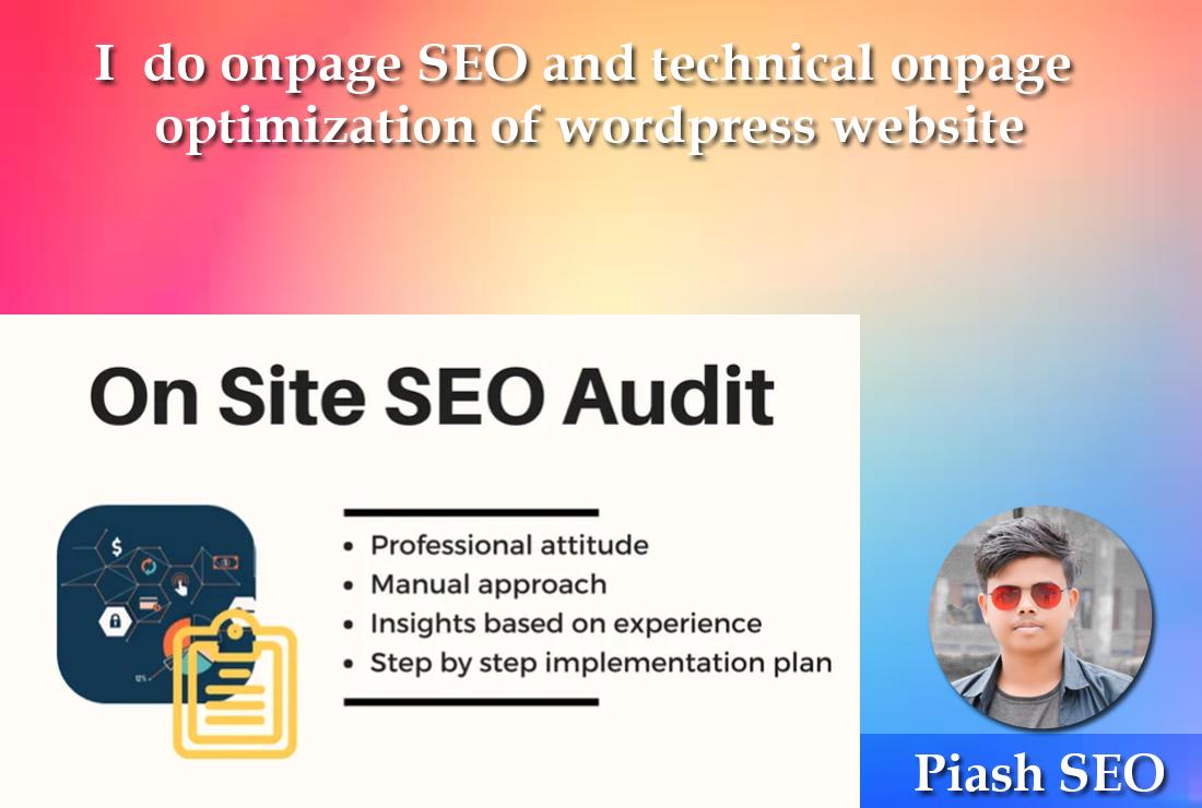 I do onpage SEO and technical onpage optimization of wordpress website