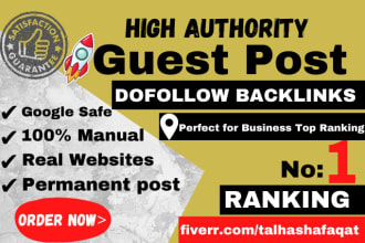 I will provide high da 50plus guest post for improve organic ranking
