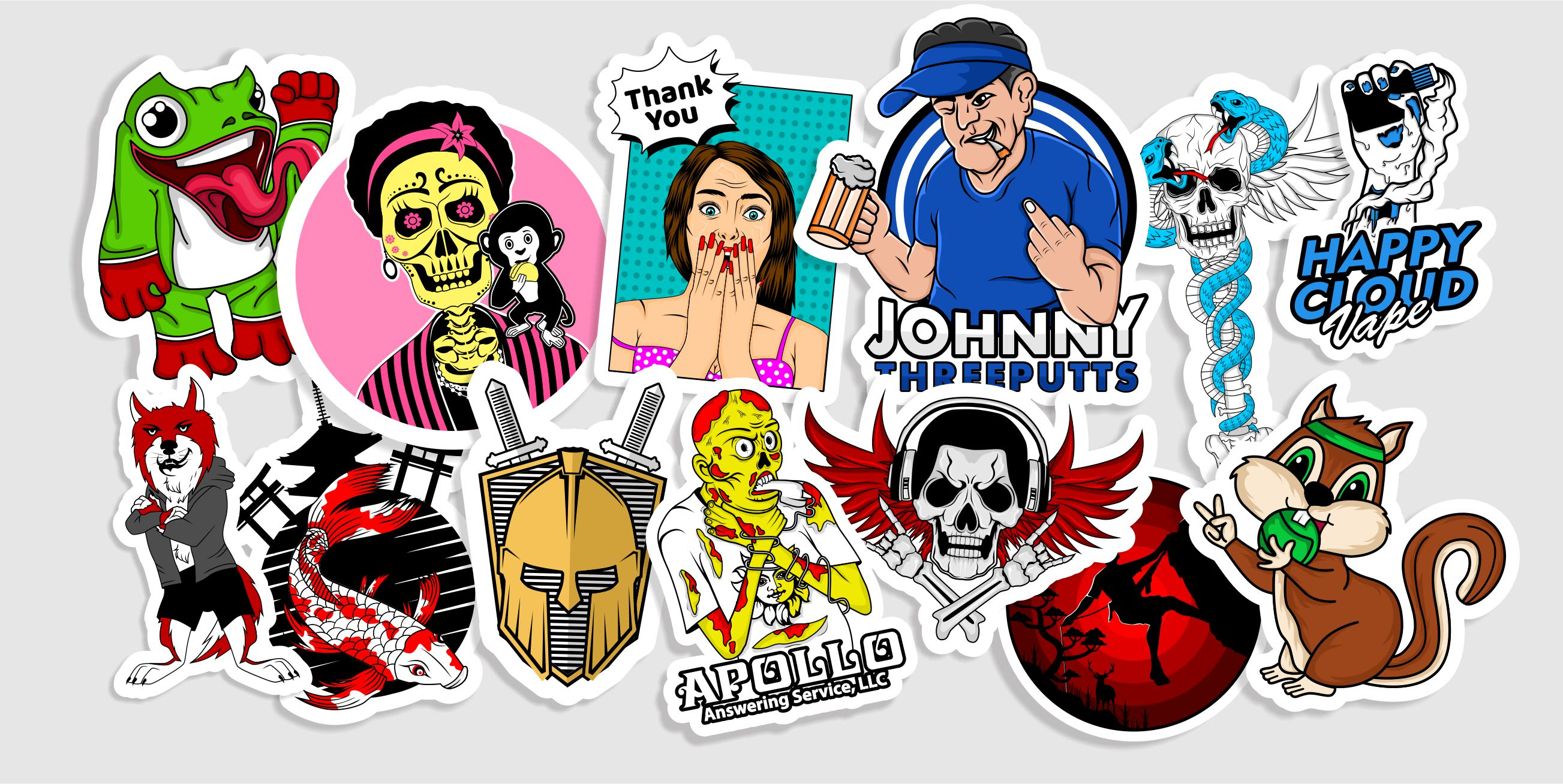 I will make a design sticker , logo and illustration within 4 hours