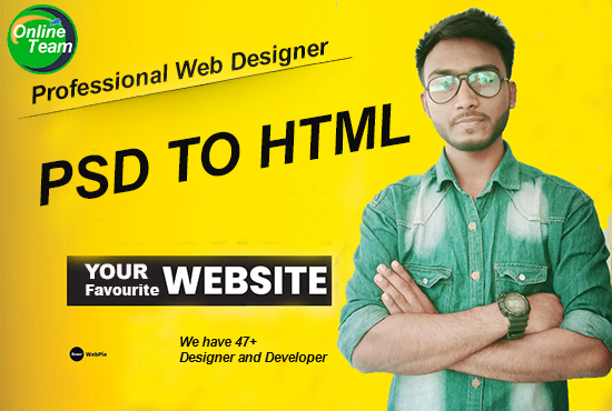 I will convert website design, psd to html, xd, image to html with high-quality responsive layout