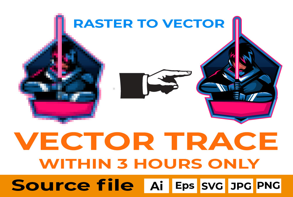 I will convert raster logo image in vector file high resolution ai