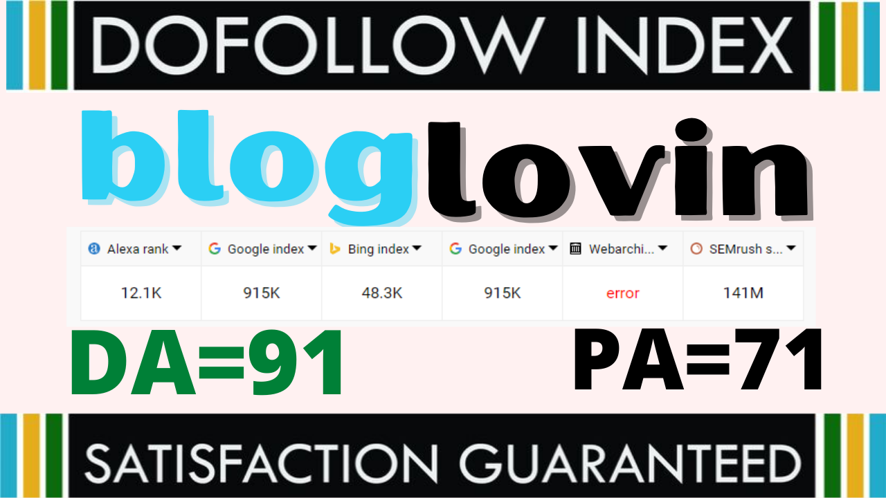 I will write and publish quality guest post on Bloglovin da 91 authority Dofollow backlinks site