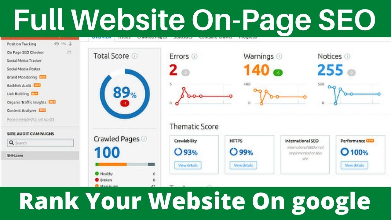 Rank Your Website On google 1st page With On Page SEO And Error Fix and Full Website Audit
