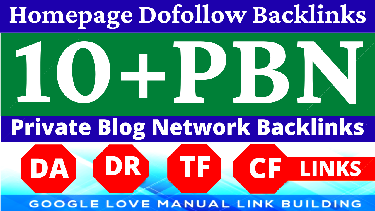 Permanent 10+ Homepage PBN Backlinks All Dofollow Quality Backlinks with unique websites