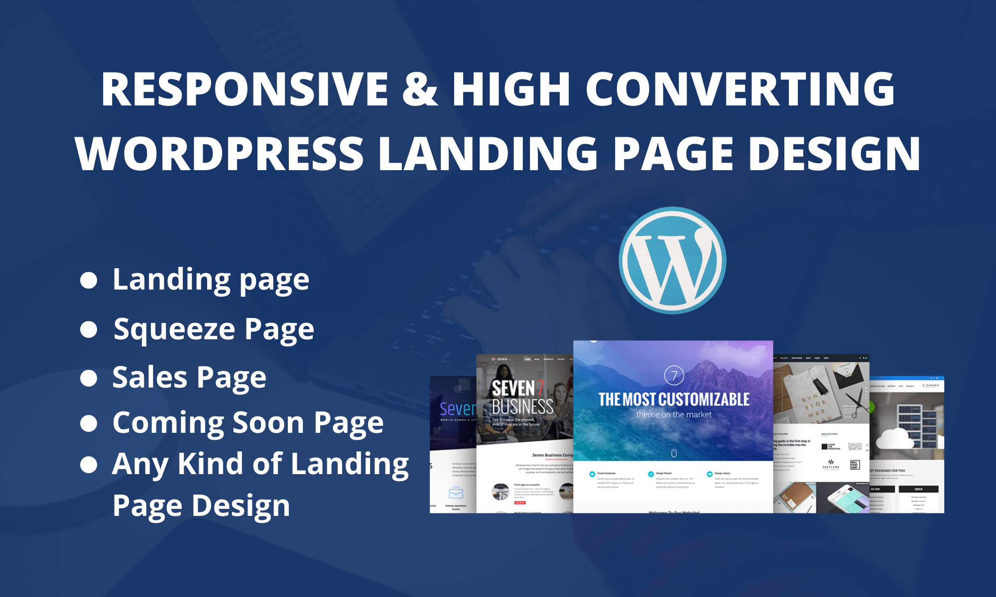 I will create a responsive WordPress landing page design