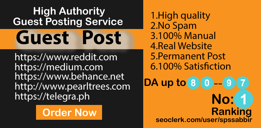 I will write and published guest post on 5 high da guest posting site