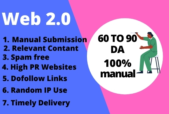I will build 50 contextual web2.0 high-quality SEO do-follow manual backlinks