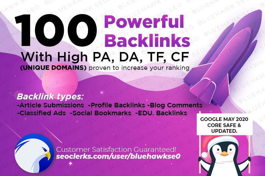 Powerful 100 Unique Domain High Authority SEO Backlinks on DA PA TF CF upto 100