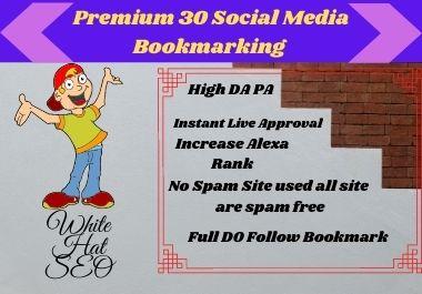 I Will Provide 30 HQ Social Media Bookmark Submission