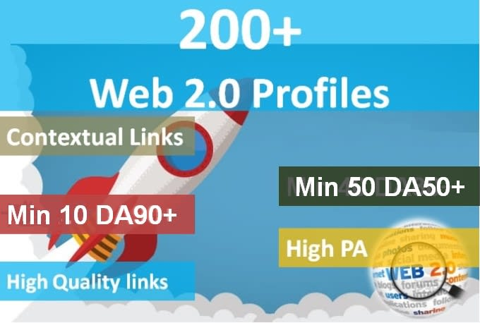 I will do 200 high authority web 20 profile backlinks with high da links