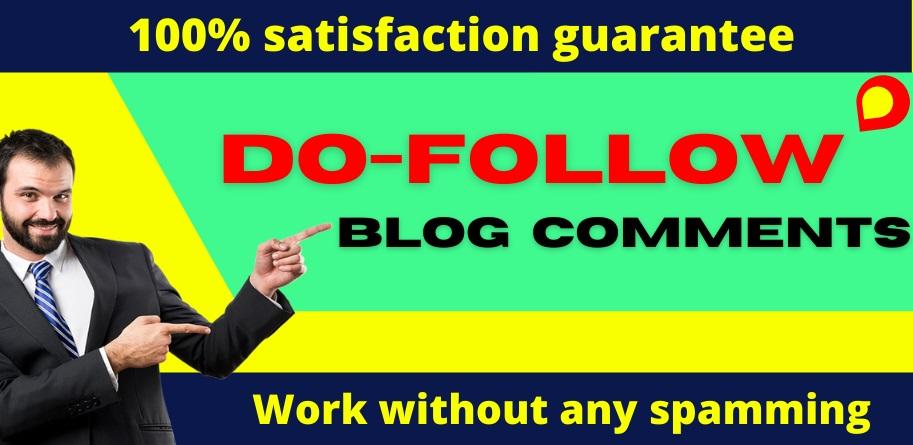 I will create 50+ do follow blog comments back links on High DA