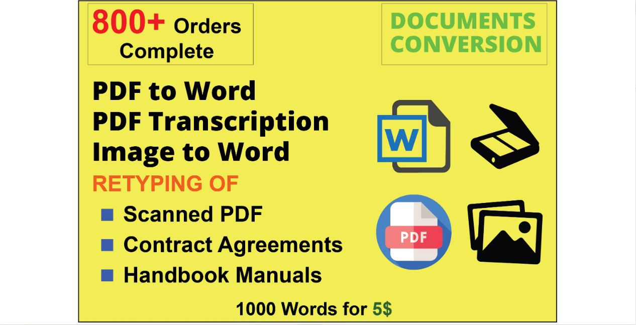 I will convert PDF to word experience of 5 years