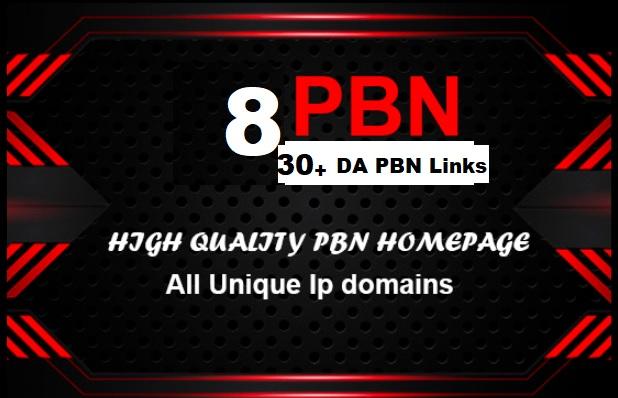 Build 5 Real 30+ DA PBN post Homepage Backlinks