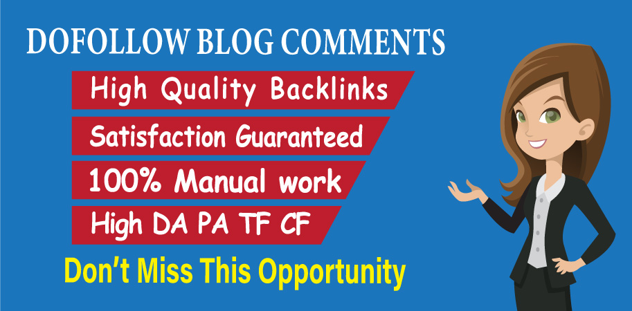 I will create 50 dofollow backlinks blog comments high quality DA