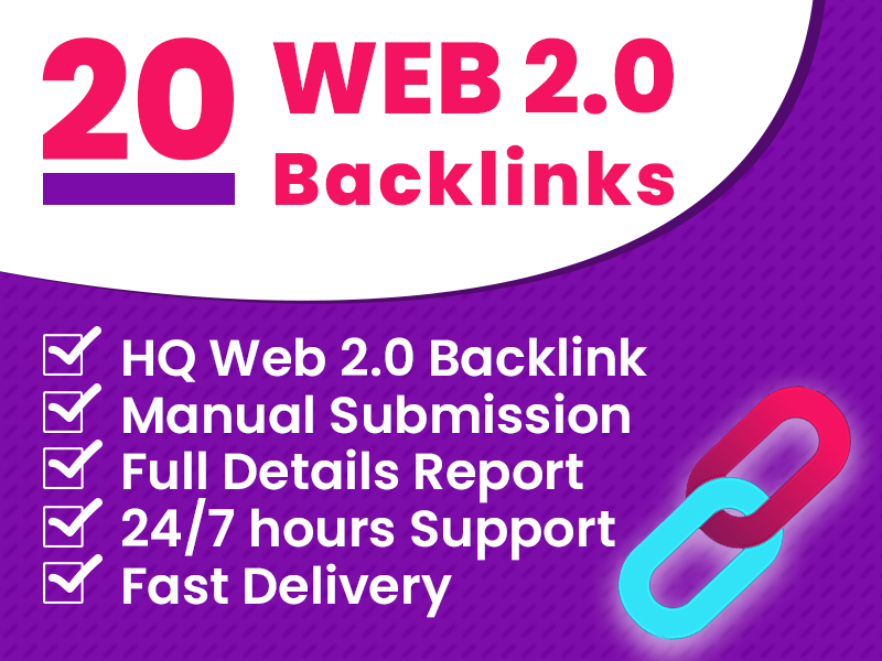 I will manually create 20 high authority web 2.0 backlinks