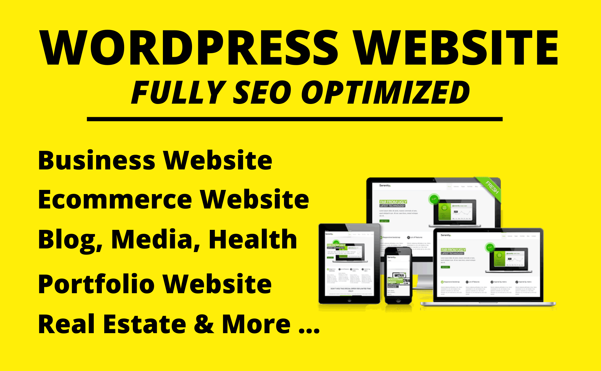 Create a professional WordPress website,  SEO & Speed optimized complete WordPress website