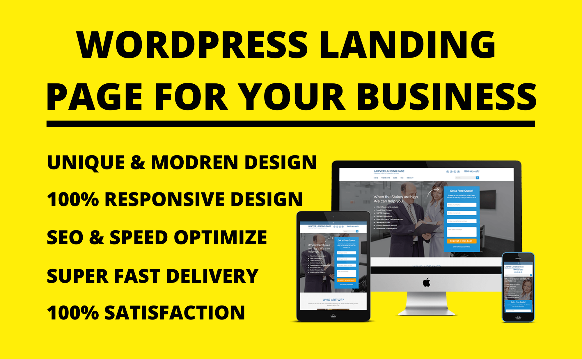 WordPress landing page design,  sales page design,  product page design for your business