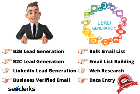 I will do B2B,  B2C and LinkedIn Lead Generation with Bulk Email List