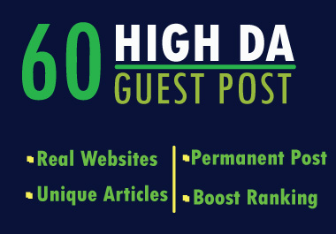 Write And Publish Guest Post On 60 Websites High DA backlink