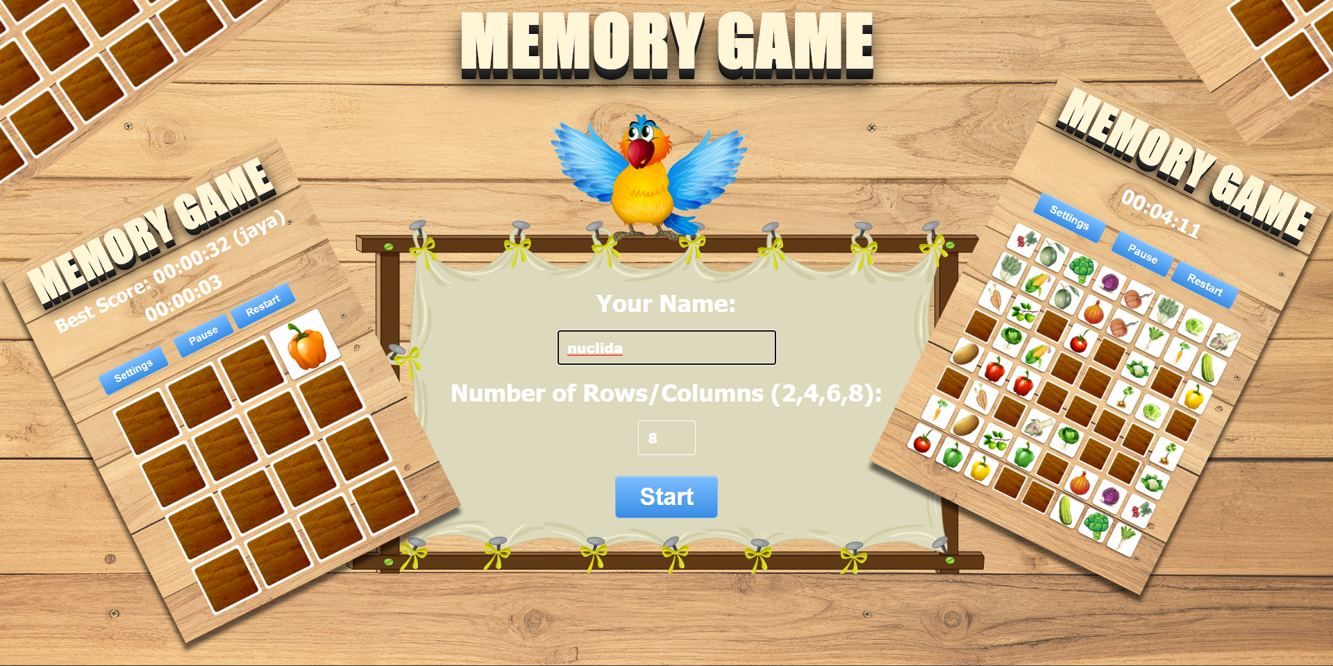 VEGETABLES GAME ANIMALS GAME BIRDS GAME Number of Rows/Columns (2,4,6,8) Source Code Available