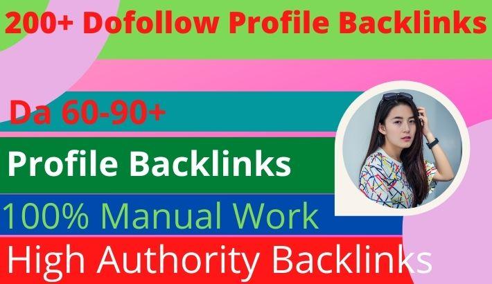 I will do high 200+ profile authority backlinks manual SEO service