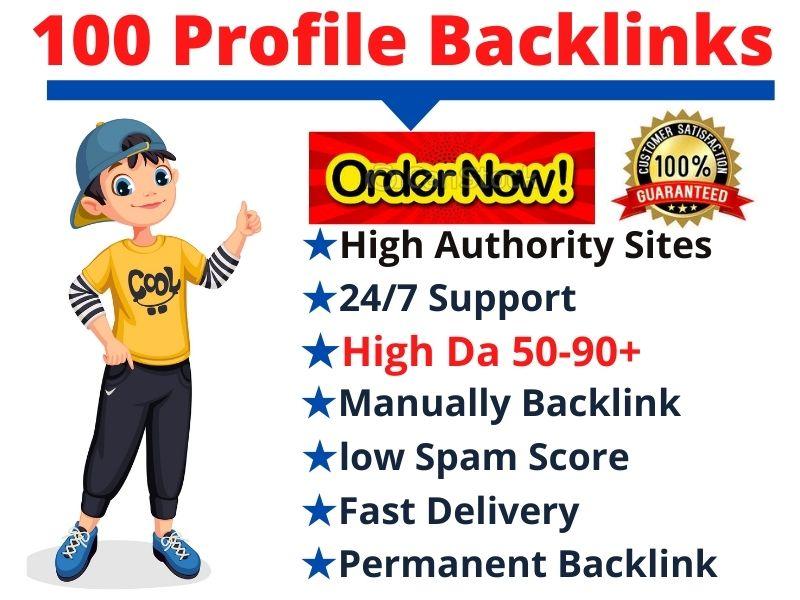 I will create manually 100 High Da Pa Authority Social Media Profile Backlinks for Boost SEO ranking