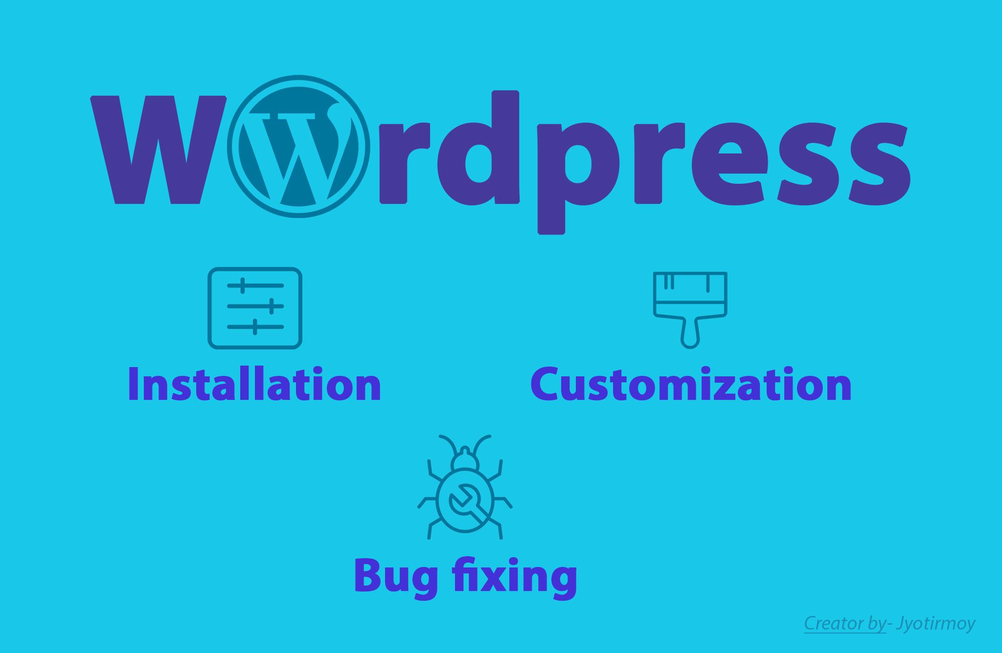I will do WordPress installation,  Customization,  Bug fixing,  basic SEO.